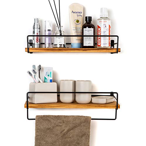 """SODUKU Floating Shelves Wall Mounted, Wall Wood Storage Shelf for Kitchen Bathroom Bedroom Set of 2 Carbonized Black - Plan Your Space Scientifically - Do you want to plan your room better? It's time to try vertical storage! These wall-mounted shelves are not only attractive decorations on the wall but also create reasonable storage space for small items. Sturdy Construction - This floating shelf is made of 100% natural wood and user-friendly metal railings. Unlike ordinary fragile planks, it provides strong support. And the unique guardrail design prevents accidental drops effectively. Multi-Functional Shelves - Soduku's wall shelf is ideal for kitchen, living room, bedroom, toilet, bathroom, office, etc. The 16.14"""" x 5.5"""" wooden board provides enough space for safe placement of trophies, collections, small pots, etc. - wall-shelves, living-room-furniture, living-room - 41iL4loCweL -"""
