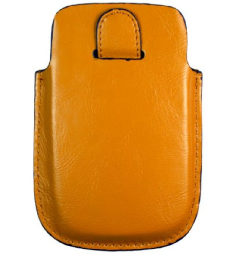 (Kroo BARE Premium Leather case designed for Blackberry Storm 2/9000 Series (Caramel with navy trim))