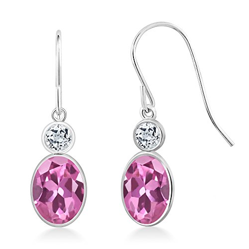 Gem Stone King 1.98 Ct Oval Pink Tourmaline White Topaz 14K White Gold Earrings