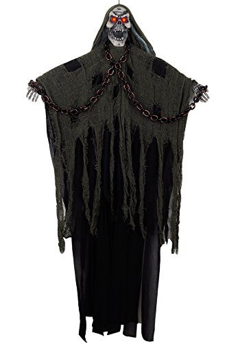 Hanging Black Reaper Prop (KI Store Halloween Hanging Ghost Decorations 3.3 ft Grim Reaper Spooky LED Eyed Scary Skull with Shackles Chains Screaming Ghost Decor (Black and Green))
