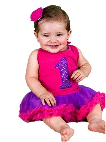 Bling Purple Birthday 1st Halter Neck Bodysuit Hot Pink Baby Dress Nb-2y (12-24month)