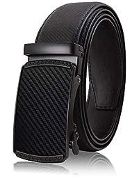 Cinturón para Hombres de Piel con Hebilla Automática – Diseño sin Agujeros Cinturón de Clic – Hebilla con Diseño – Leather Ratchet Belt for Men with Automatic Buckle – No Holes Design Click Belt