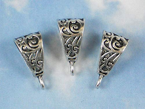 Pendant Jewelry Making 10 Slide Bails Enhancers Hangers Vine Scroll Silver Tone with Hanging Loop