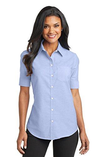 Port Authority Ladies Short Sleeve SuperPro Oxford Shirt. L659 Oxford Blue L
