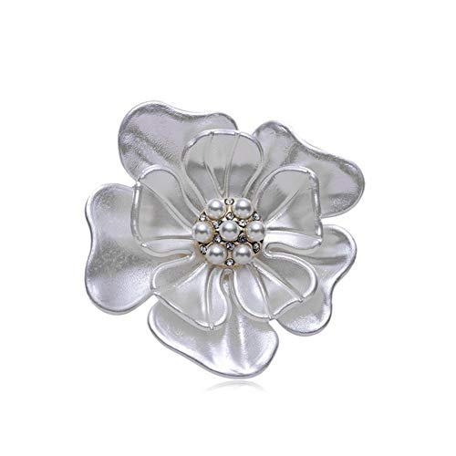 AILUOR Elegant Enamel Plum Blossom Flower Brooch Pin, Fashion Gold Plated Pearls Floral Brooch Lapel Pin for Women Girl Bridal Wedding Corsage Jewelry Gifts (White)