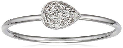 Indygo-Bague Femme Plaqué Argent Diamant 0.076CT Blanc-9V11r01b