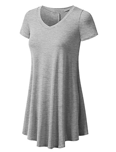 Jewel Neck Short Sleeve Shorts (LINK-FLY Draped Blouse Top Short Sleeve T-shirt Loose Female Tops T Shirt Flowy Shirt Casual Blouse Tank T Shirt Top Tee for Women Jewel Neck Ladies T-shirt Dress , Grey XL)