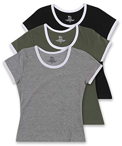 - Women's 3 Pack Cotton Casual Workout Ringer Tee with White Pop - Olive, Grey, Black - X-Large