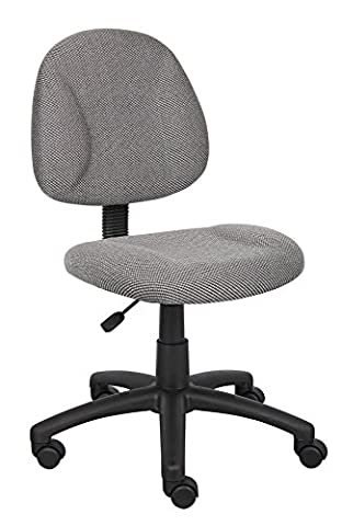 Boss Office Products B315-GY Perfect Posture Delux Fabric Task Chair without Arms in Grey - Boss Office Desk