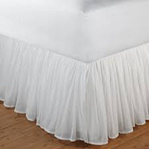Aashi Rainwear 110 GSM Microfiber Bedskirt Sateen Finish Wrap with Platform Easy Fit Gathered Style 3 Sided Coverage Cal-King 18