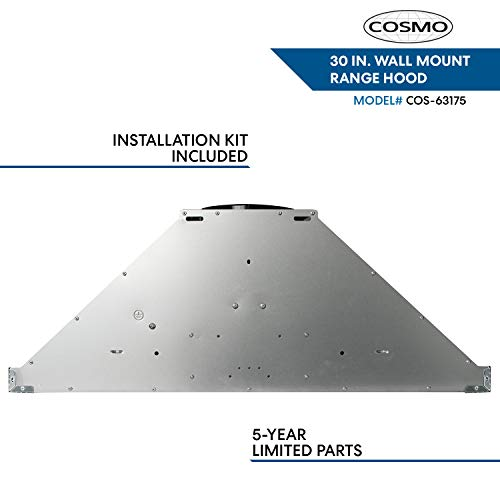 Cosmo 63175 30 in. Wall Mount Range Hood with Efficient Airflow, Ducted, 3-Speed Fan, Permanent Filters, LED Lights, Chimney Style Over Stove Vent in Stainless Steel, Exhaust