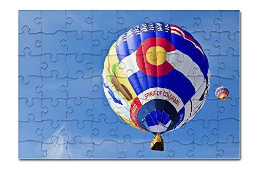 Colorado Springs, Colorado - Spirit of Colorado Hot Air Balloon - Photography A-92640 (8x12 Premium Acrylic Puzzle, 63 Pieces)