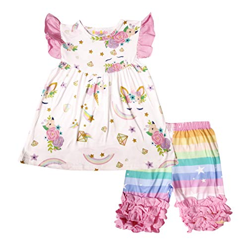 - Boutique Baby Girls Spring Summer Unicorn Ruffles Top Capri Set Rainbow Colors 12-18M/XXS