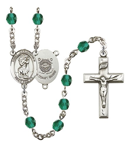 December Birth Month Prayer Bead Rosary with Saint Christopher Coast Guard Centerpiece, 19 Inch (Coast Christopher Guard)