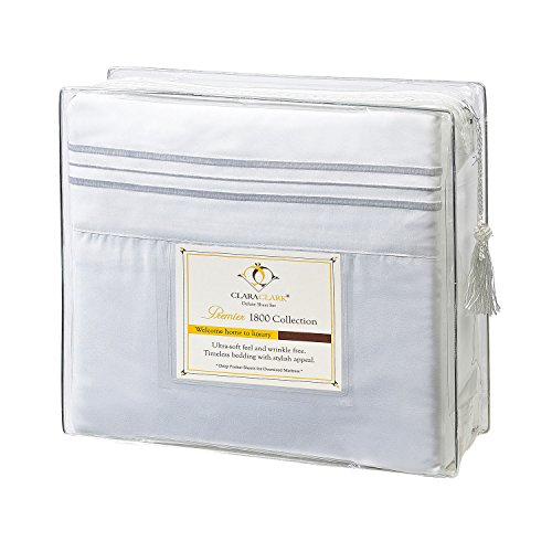 Clara Clark Premier 1800 Collection Deluxe Microfiber 3-Line Bed Sheet Set, White, Full (Double) Size (Mattress Set Product Premiere)
