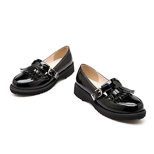 Amoonyfashion Dames Ronde Dichte Neus Lage Hakken Stevige Gesp Pumps-schoenen Zwart