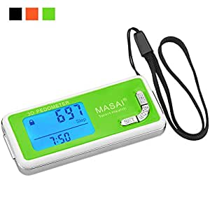 Pedometer for Walking-3D Trisport Walking Pedometer-Portable Step Counter for Walking-Non-Bluetooth Pedometers with Lanyard/7 Days Memory for Distance/Calorie Counter with Water-Resistant/ Backlight, Green