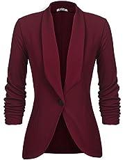 UNibelle Dames blazer damesjas gebreid vest cardigan 3/4 lang licht en dun bolero elegant jack, effen slim fit revers business trenchcoat korte mantel met maat S - 2XL