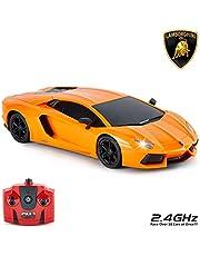 Lamborghini Aventador Officieel gelicentieerde op afstand bestuurde auto met werklampen, radiogestuurde RC-auto op straatschaal modelschaal 1:24, 2,4 GHz, geweldig speelgoed (oranje)