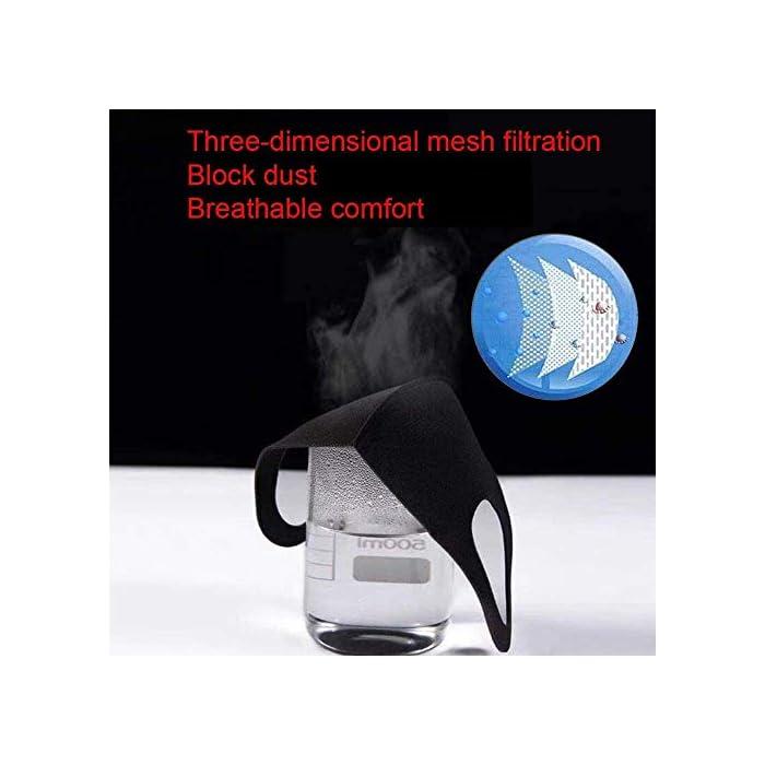 41iL906qMIL 【Material permeable】: Hecho de poliuretano de alta calidad, transpirable, a prueba de viento, absorbe el sudor, cómodo y agradable para la piel. 【Adecuado para casi todo el mundo】: lo suficientemente ancho como para cubrir la nariz, la boca y la cara. Los materiales suaves y cómodos no dejan marcas en el rostro cuando se quitan. 【Uso versátil】: mantiene el polvo alejado hasta en un 99%; filtra eficazmente el polvo, el polen, el humo y para pintar, correr, andar en bicicleta, practicar deportes, hacer senderismo y otras actividades al aire libre.