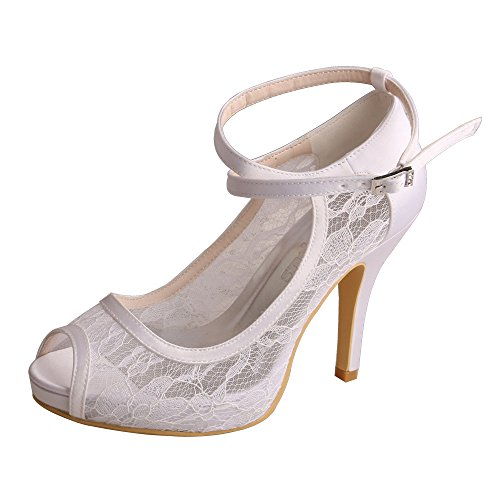Wedopus MW7008 Women Peep Toe High Heel Platform Ankle Straps Lace Wedding Shoes Bridal White plo2nMB