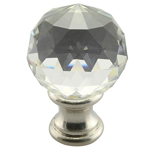 DZS Elec 1PC Lamp Topper Shade Finial Clear Crystal Cut Faceted Brushed Nickel Finish 1-3/4 Inch Lamp - Topper Finial