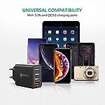 IWAIVON-Caricatore-USB-da-MuroQuick-Charge-30-30W6A-Carica-Rapida-da-4-Porte-Caricabatterie-da-Parete-per-iPhone-XRXS-MaxX8-Plus8-iPadSamsung-Galaxy-S9S8-Huawei-P30P20HTCLGNero