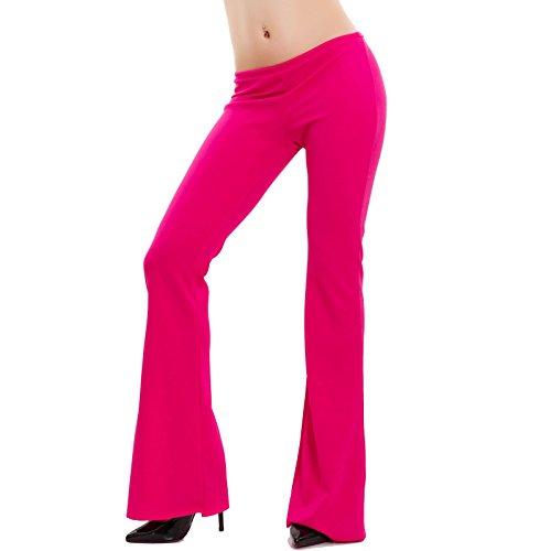 Toocool - Pantaloni donna campana aderenti zampa elefante elasticizzati hot nuovi AS-2462 Fuxia