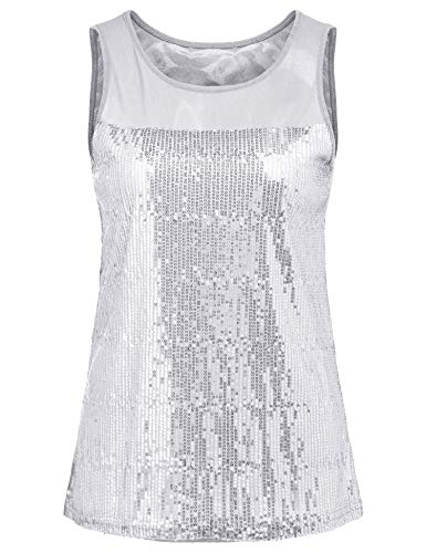 - Concep Sleeveless Sparkle Shimmer Camisole Womens Embellished Sequined Vest Tank Tops (Silver, M)