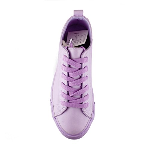 Monochromatic up Colored Toe Vegan Lilac Stylish Low Fashion Comfortable Sneakers Round Leather Lace Top Shoes q1ca1nvEf