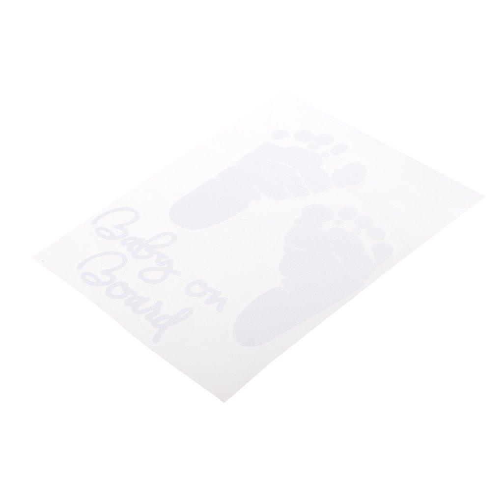 Homyl ''BABY ON BOARD'' Footprint Vinyl Car Graphics Window Vehicle Sticker White - White