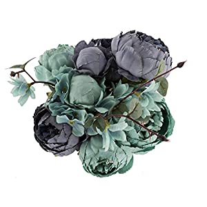 EZFLOWERY 1 Pack Artificial Peony Silk Flowers Arrangement Bouquet for Wedding Centerpiece Room Party Home Decoration, Elegant Vintage, Perfect for Spring, Summer and Occasions (1, New Blue) 1