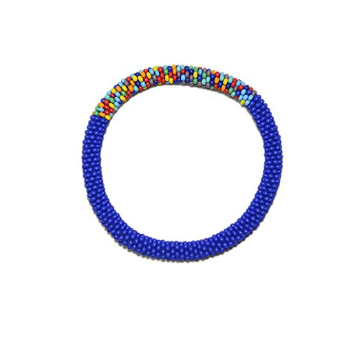 Crocheted Beaded Bracelet (Matte Navy Blue with Accent of Mixed Crocheted Beaded Bracelet, Japanese Seed Beads,Nepal)
