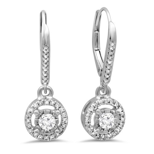 0.50 Carat (ctw) 14K White Gold Round Diamond Ladies Cluster Halo Style Dangling Drop Earrings 1/2 CT by DazzlingRock Collection