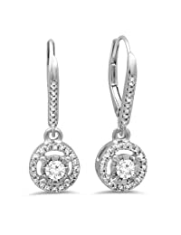 0.50 Carat (ctw) 14K Gold Round Cut Diamond Ladies Cluster Halo Style Dangling Drop Earrings 1/2 CT