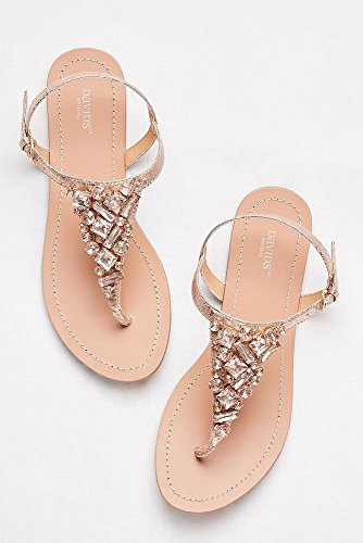Jeweled Metallic Ankle-Strap Thong Sandals Style Rio, Rose Gold, 11W by David's Bridal (Image #3)