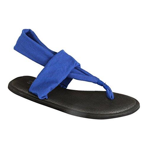 Kvinners Nye Stil Mote Yoga-2sling Back Flip Flop Gladiator Flat Thong Asorted Sandal Sko Blå