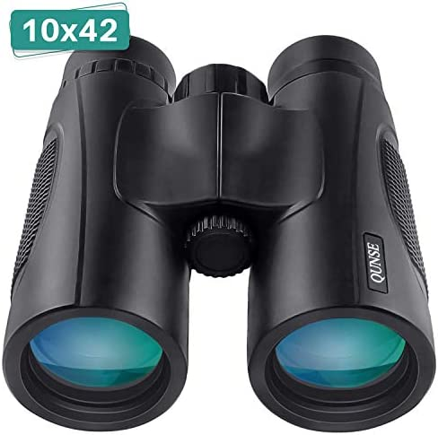 QUNSE Binoculars for Adults Kids, 10×42 Lightweight Waterproof Compact Binoculars with Low Light Night Vision, BAK4 Prism FMC Lens HD Clear View for Bird Watching, Hunting, Travel