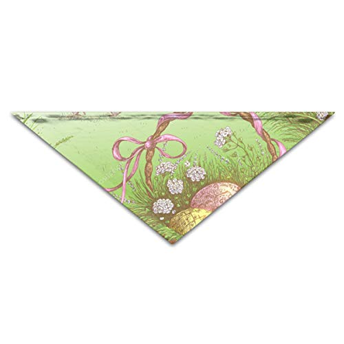 OLOSARO Dog Bandana Happy Easter Basket with Egg Pillow Triangle Bibs Scarf Accessories for Dogs Cats Pets -