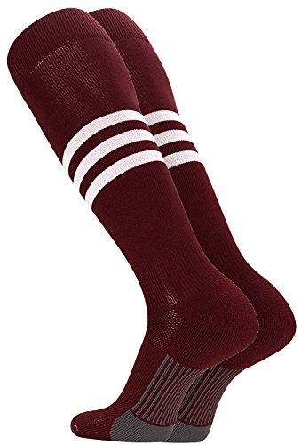 TCK Performance Baseball/Softball Socks (Maroon/White, Large)