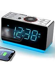 Radio Alarm Clock Bedside Alarm Clock Dual Alarm,FM Radio Clock,Auto Brightness,Dimmer Control,Bluetooth, Snooze, Sleep Timer,USB Charging,Auxiliary Input,Backup Battery (iTOMA CKS708)