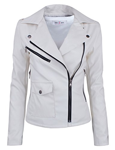 Tom's Ware Women's Fashionable Asymmetrical Zip-up Faux Leather Jacket TWPJW01-02-WHITE-US XL