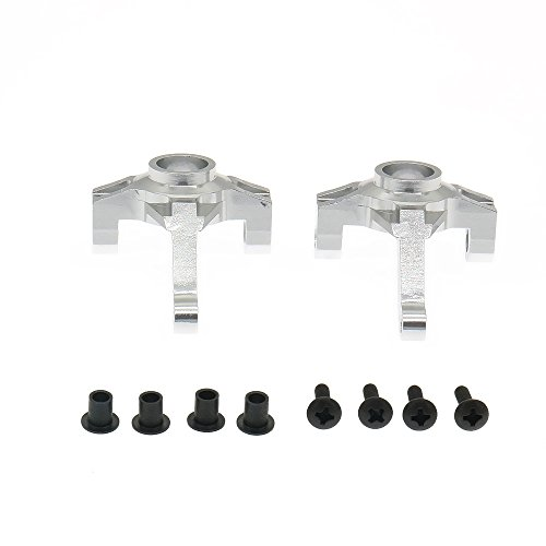 (RCAWD Steering Hub Carrier 180002 180004 Left&Right for 1/10 HSP Rock Crawler 94180 2Pcs(Silver))