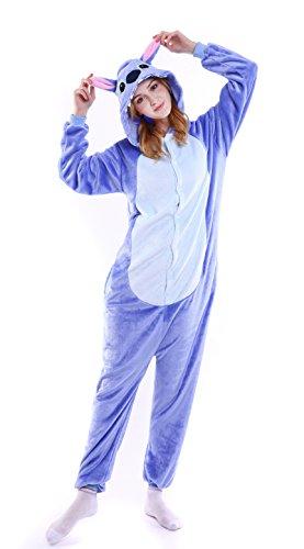 Dingwangyang Uinisex Adult Pajamas Onesie Kigurumi Cosplay Costumes Animal Jumpsuit Blue Stitch-L -