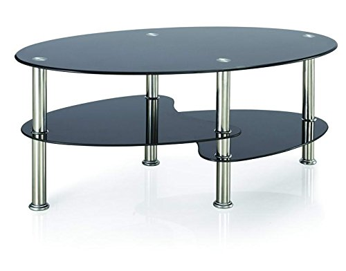 Vida Designs Cara Glass Coffee Table With Oval Stainless