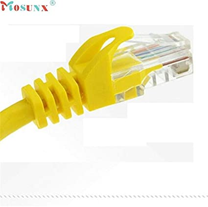 Occus Mosunx Factory Price 1-30M Yellow External Network Ethernet Cable CAT5e 100/% Copper J09T Yoton CN, Cable Length: 1.5m, Color: Yellow