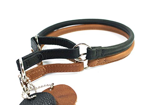 CollarDirect Martingale Dog Collar Rolled Leather Soft Padded Puppy Small Medium Large Black Brown (Matte Black, Neck Fit 18