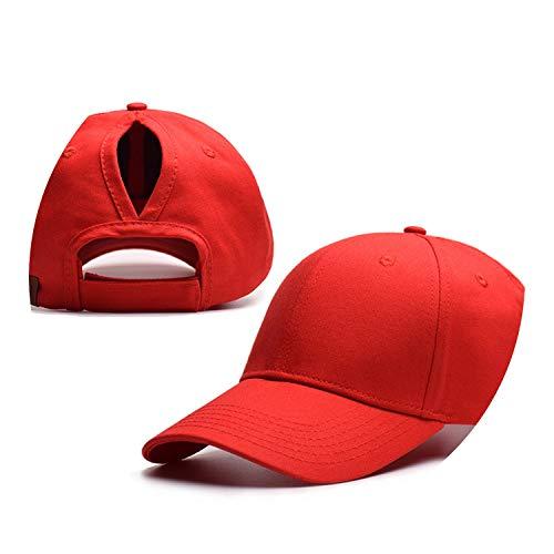 野球帽のキャップンスタイルのオープンポニーテールキャップ カスタマイズ 帽子,レッド,CCマークなし