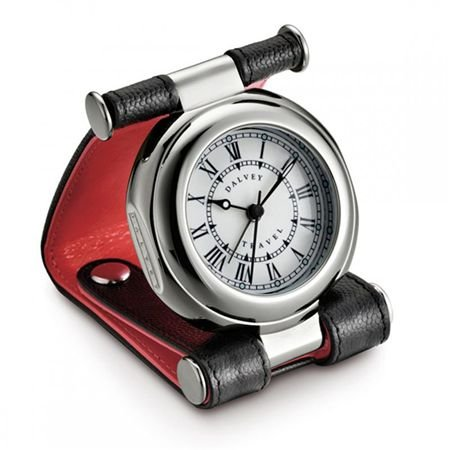 Dalvey Leather Travel Alarm Clock (Red)