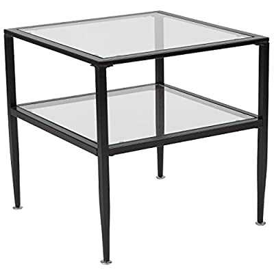 Flash Furniture Newport Collection Glass End Table with Black Metal Frame - Contemporary design Clear tempered Glass surface 8mm thick Glass - living-room-furniture, living-room, end-tables - 41iLDY5E%2BRL. SS400  -